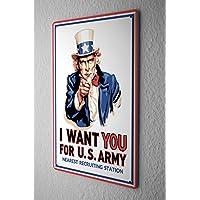 Targa in metallo HO VOGLIA DI TE PER cappello US ARMY di reclutamento più vicina stazione di cm fumetto comico satira stella 20x30