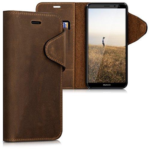 kalibri Huawei Mate 10 Lite Hülle - Leder Handyhülle für Huawei Mate 10 Lite - Braun - Handy Wallet Case Cover
