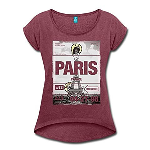 Smiley World France Paris Tour Eiffel T-shirt Femme à manches retroussées de Spreadshirt®‎, M, rouge bordeaux chiné