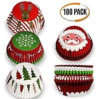 The Twiddlers 100 Envolturas de Magdalena con Diseño Navideño - Papel Molde Muffin Cases - Diseños Variados - Ideal para Fiestas de Navidad - Honear y Cocinar.