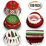 THE TWIDDLERS 100 pirottini per di Carta Muffin e Cupcake a Tema Natalizio - Disegni Assortiti - Ideale per Feste di Natale