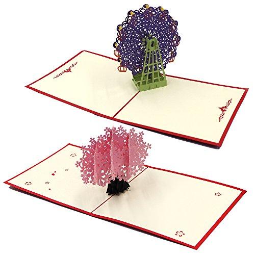 Cartoline d'auguri di natale/di anniversario a taglio laser pop up 3d di lenhart purple peacock+cherry blossoms