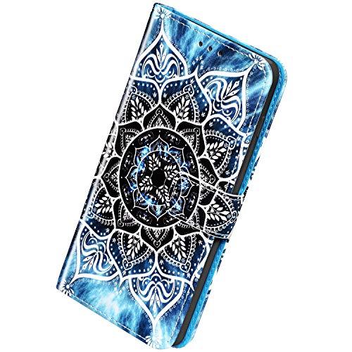 Herbests Kompatibel mit Samsung Galaxy M30 Leder Hülle Schutzhülle Handyhüllen Bunt Motiv Muster Flip Brieftasche Wallet Tasche Klapphülle Etui Case Magnetverschluss,Weiß Mandala Blume