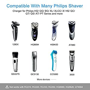 BERLS 15V Portable Philips Razor Shaver Charger Power Cord for Philips Shaver Norelco Multigroom Pro All-in-One Grooming Trimmer, Precision, Bodygroom, Arcitec, Sensotouch, Speed-xl, Smarttouch