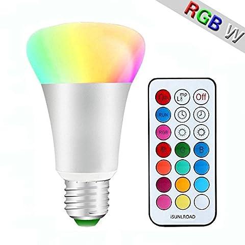 Minger 10W RGBW LED Lampen E27 Farbige Leuchtmittel (Rot Grün Blau und Weiß) Dimmbare Magische Atmosphäre LED Birnen mit Kabellos Fernbedienung