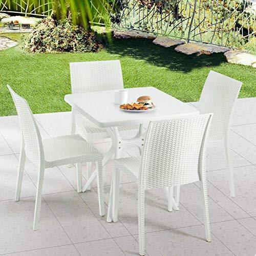 Newzeal Terrassen-ESS-Set, Rattan-Gartenmöbel, rechteckiger Esstisch und 4 Stühle, für den Außenbereich, Weiß, 5-teiliges ESS-Set für Terrassendielen oder Balkon - Terrasse Ess-set