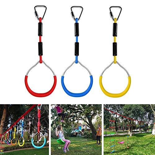 knowledgi 3 STÜCKE Seilringe Turnringe Mit Seil-Hinterhof Outdoor Gymnastikring Ninja Hindernisparcours Kit Für Klettergerüste Und Garten Schaukeln