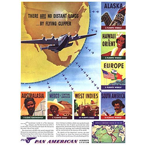 Wee Blue Coo Prints Advert AIR LINE Clipper Fly TRAVEL 1940 Distant Lands 30X40 CMS FINE Art Print Art Poster Werbung Reise Kunstdruck -
