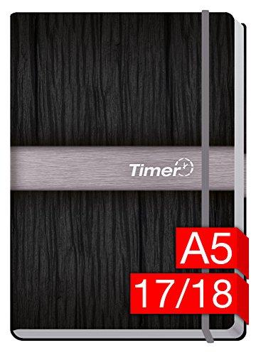 Chäff-Timer Premium A5 Kalender 2017/2018 [Silber] 18 Monate Juli 2017-Dezember 2018 - Gummiband, Einstecktasche - Terminkalender mit Wochenplaner - Organizer - Wochenkalender