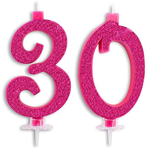 Velas Maxi de 30 años para Tarta, Fiesta de cumpleaños, 30 años, decoración de Velas de cumpleaños, Tarta de 30, Fiesta temática, Altura de 13 cm, Fucsia Brillante