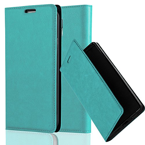 Cadorabo Hülle für Samsung Galaxy S5 / S5 NEO - Hülle in Petrol TÜRKIS - Handyhülle mit Magnetverschluss, Standfunktion & Kartenfach - Case Cover Schutzhülle Etui Tasche Book Klapp Style