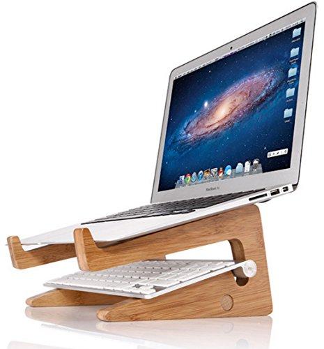 OUTOWIN Kreativ Bambus Laptopständer klappbar - Ergonomis Computer Desktop Ständer Vertikal Halterung Wärmeableitung für Alle Apple Macbook, MacBook Air / Macbook Pro / Retina MacBook und Andere 11''-15'' Laptops (Weniger als 35mm dicke) (Strukturierte Bambus)