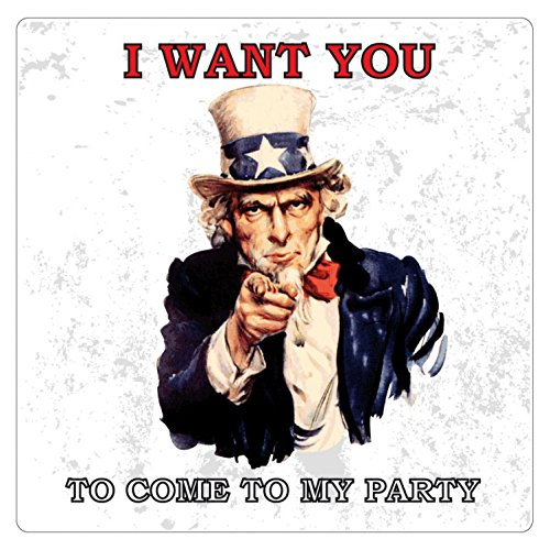 Oncle Sam Poster-Sticker Autocollant - I Want You to Come to My Party (9 x 9 cm)