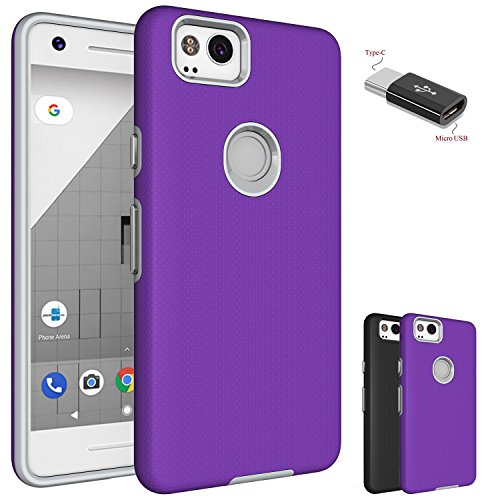 Google Pixel 2Hülle mit Micro USB auf Typ C Adapter, wtiaw [Kratzfest] Acryl Hard Cover mit Gummi TPU Bumper Hybrid Ultra Slim Schutzhülle für Google pixel2, AS Purple - Liner-adapter