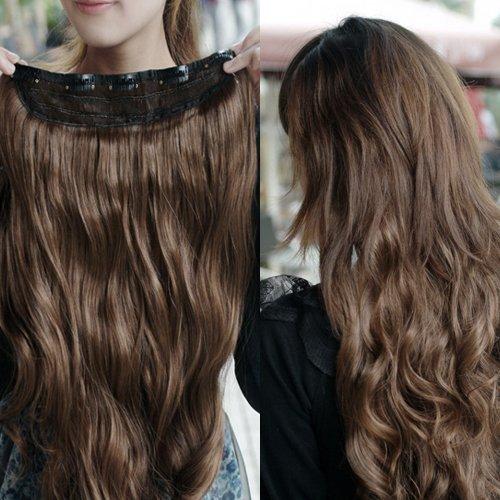 SODIAL(R) Superbe Longue Frise Perruque Epingle sur Cheveux Extension Perruques - Brun Fonce