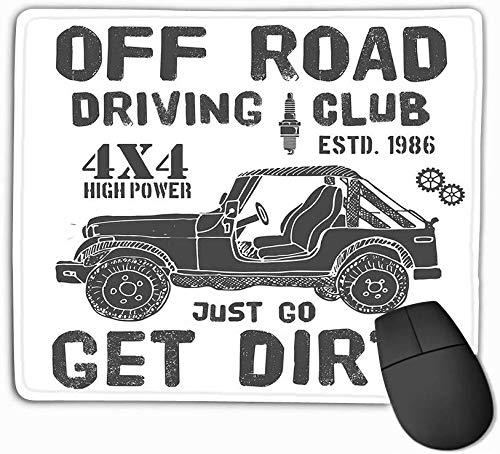 vbndfghjd Mouse Pad Design Offroad Driving Club SUV Car Typography Design Offroad Driving Club Rectangle Rubber Mousepad 11.81 X 9.84 inch