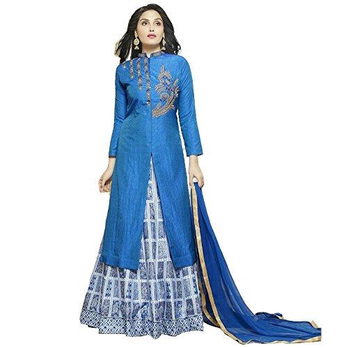 New Latest Blue & White Banglori Silk Indo Western