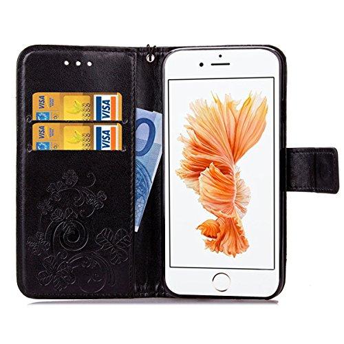 iPhone 6S Plus Coque, iPhone 6 Plus Coque, Lifeturt [ Bleu ] Leather Case Wallet Flip Protective Cover Protector, Etui de Protection PU Cuir Portefeuille Coque Housse Case Cover Coquille Couverture av E02-Noir