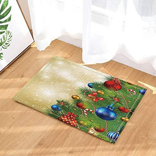 fdswdfg221 Frohes Neues Jahr Dekor, Weihnachtsbaum Voll mit Rot Blau Bälle Bad Teppiche rutschfeste Fußmatte Bodeneingänge Indoor Haustür Matte Kinder Badematte 60X40 cm Bad Zubehör