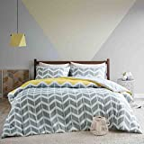 URBAN HABITAT Nadia Double Duvet covers set , Fashion Chevron Printed Duvet Cover and Pillowcase Set, Luxury Trendy Quilt Bedding Set , Yellow / Grey