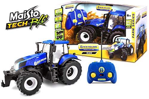 Maisto Tech R/C New Holland Traktor T8.320: Ferngesteuerter Traktor mit Licht, Maßstab 1:16, mit Stick-Controller, ab 8 Jahren, 35 cm, blau (582026)