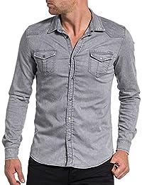 BLZ jeans - Chemise homme grise denim à pressions