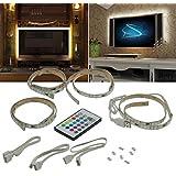 RGB Stripe Set:TV-Hintergrundbeleuchtung, USB, 4x 50cm, Verbinder & Fernbedien