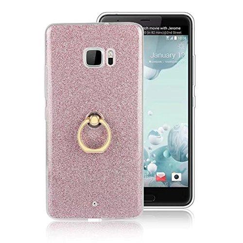 Luxus Bling Sparkle Style Case, Soft TPU [Silikon] Flexible Glitzer Rückentasche mit Fingerring Stand [Anti Scratch] [Shockproof] für HTC U Ultra ( Color : Black ) Pink