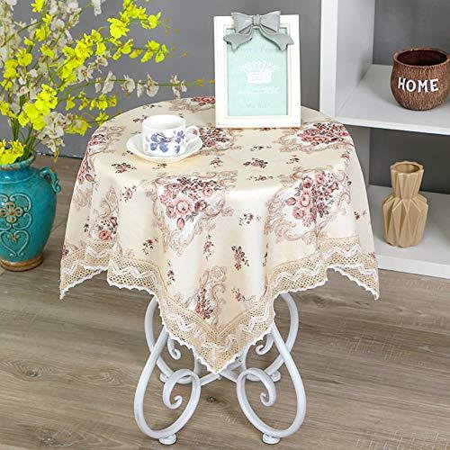 GODXMDD H?keln Spitze tischdecke,Coffee Table Abdeckung Bestickte tischdecke Indoor Auf Hochzeiten oder Quadratische Blumen-Print Schminktisch Tischdecke-C 140x140cm(55x55inch)