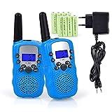 Lomoo Talkies Walkies Rechargeables, Enfants Talkie Walkie Rechargeable 3 km de Long Distance Interphone Cadeau De Noël Enfants Jouets (avec Batteries et Chargeur)(Bleu)