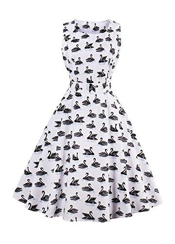 Wicky LS Damen Sommer Ohne Arm Kleid Dress Vintage kleid Junger abendkleid  Schwan