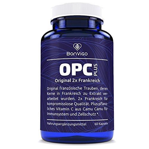 OPC PLUS - BonVigo® PREMIUM 2X FRANKREICH - Der Unterschied: Weintrauben und Extrakt beide aus original französischer Herstellung. Hochdosiert zur Stoffwechselkur