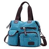 Gindoly Damen Canvas Handtasche Groß Modisch Umhängetasche Multi Tasche Schultertasche Hobo für Reisen Schule Shopping und Arbeit (Blau)