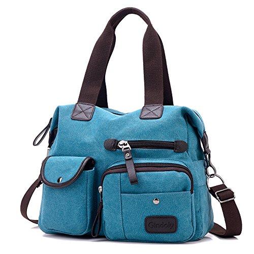 Damen Canvas Handtasche Groß , Gindoly Modisch Umhängetasche Multi Tasche Schultertasche Hobo für Reisen Schule Shopping und Arbeit (Blau)