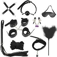 Juguetes de Adultos Pareja 10 pcs Restricciones Cama SM Kits Bondage Negro Collar Látigo. (Black)