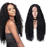 Longues perruques bouclées avant de dentelle noire pour les femmes de sexe féminin...
