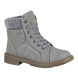 Damen Schuhe Schnürstiefeletten Warm Gefütterte Stiefeletten Kunstfell 150393 Grau Bexhill 38 | Flandell®
