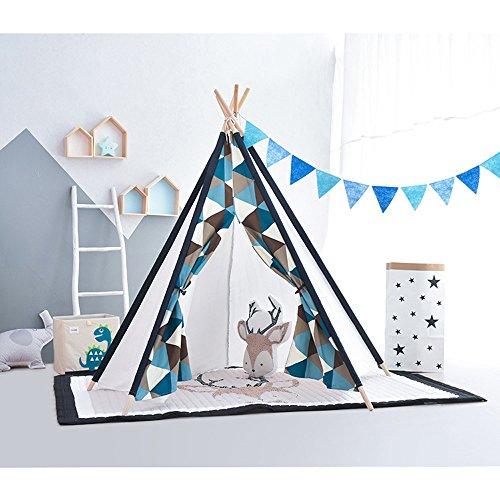Siyushop Kinderzelt - Klassisches Indisches Zelt, Kinder mit 5 Holzstäben, 100% natürliche Baumwoll-Canvas, Kindergeschenke für Jungen und Mädchen Indoor (Color : F Package)