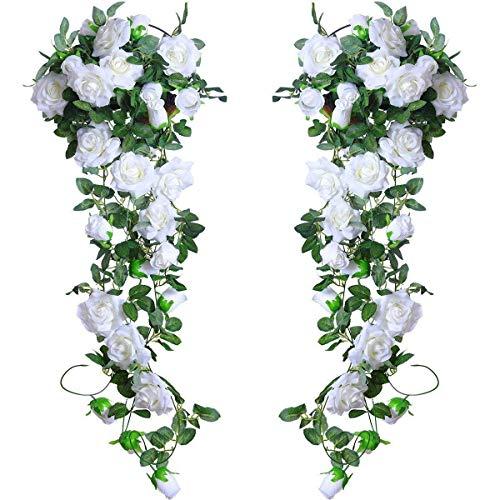 Rose Rattan Kunststoff weiß 2pcs