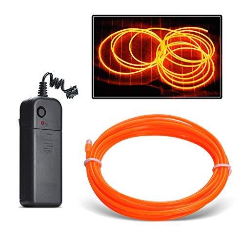 sserdicht EL Wire EL Kabel Neon Beleuchtung leuchtschnur mit 3 Modis für Partybeleuchtung,Weihnachtsfeiern und Halloween Kostüm Rave Dekoration (Orange, 3M) ()