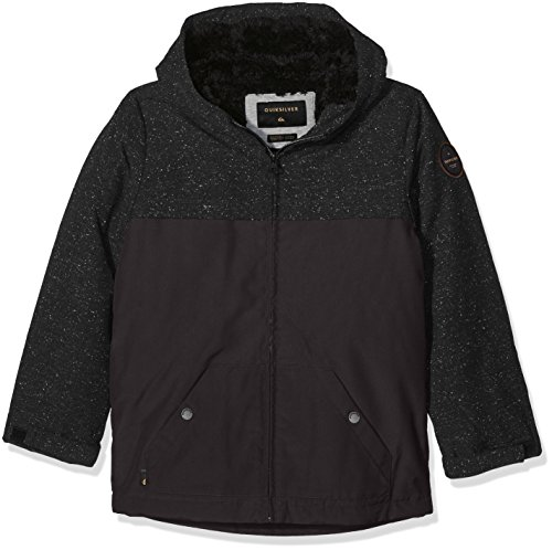 Boys Sherpa Jacket (Quiksilver Jungen Youth Wanna Dwr-Water-Repellent Hooded Jacket, Tarmac, L/14)