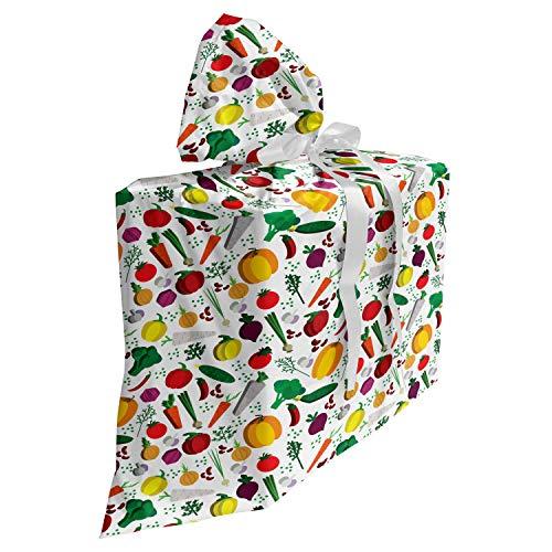 ABAKUHAUS Bunt Baby Shower Geschänksverpackung aus Stoff, Vegetarische Kost Chili, 3x Bändern Wiederbenutzbar, 70 x 80 cm, Mehrfarbig