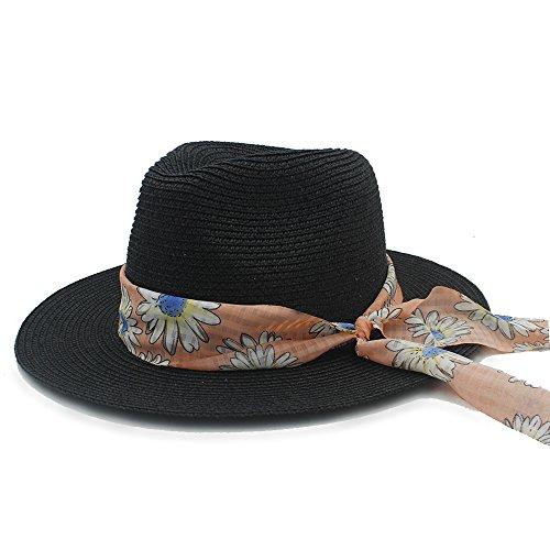 amen Sonnenhut für Damen Stroh-Hut mit mit Klebeband, für elegante Damen Mütze Bowknot Panama Fedora Hut, 1, 57 cm-59 cm (Kostüme Diy 2017)