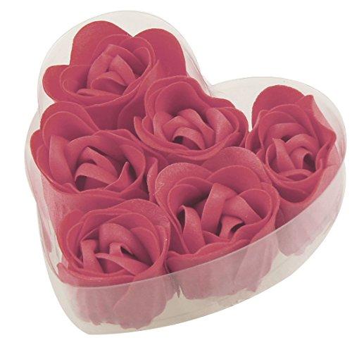6 PC-Baden Rote Rosen-Knospe Blütenblatt Seife Hochzeit Gunsten + Herz-Form-Box