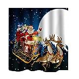 MagiDeal 1pz Tenda da Doccia con 12 Ganci Extra Lungo Tessuto in Poliestere 180x180cm - Babbo Natale