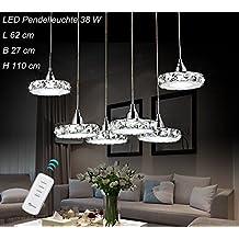 LED Pendelleuchte 6042D 6fl Luxus Design. Kristall Klar Edelstahl Chrom 3  Modus (