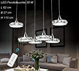 LED Pendelleuchte 6042D-6fl Luxus-Design. Kristall klar Edelstahl Chrom 3 Modus