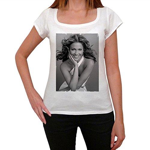 Jennifer Lopez, tee shirt femme, imprimé célébrité,Blanc, t shirt femme,cadeau Blanc