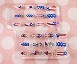 GRASHINE Salon Qualität handgemachten heißer Verkauf Produkt Braut Nail Art 24pcs gefälschte Fingernägel amerikanische Flagge gefälschte Fingernägel weiß und rot Diamantnagelflecken für Brauthochzeit