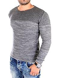 Reslad Strickpullover Herren-Pullover Melange Colorblock Rundhals Strick-Pulli RS-3124
